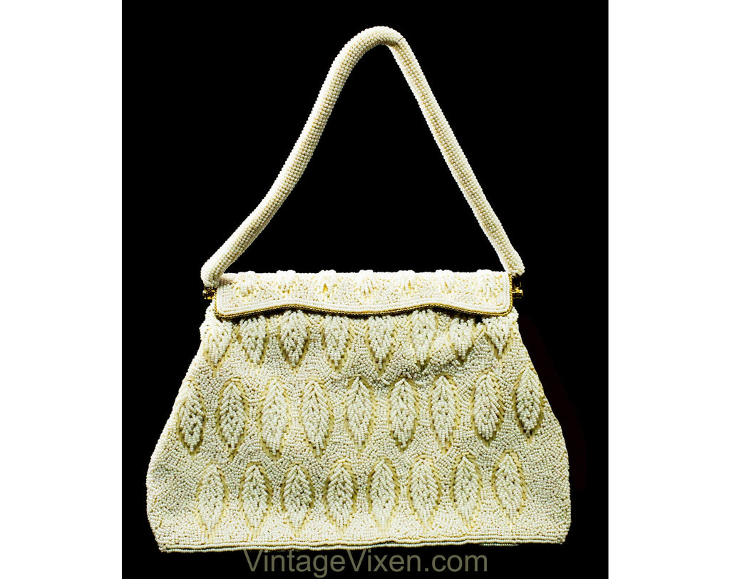 Rich 1950s Beaded Evening Bag - White & Ivory Beadwork Formal Purse with Leaf Pattern - 50s 60s Handbag with Bead Strap - Made in Hong Kong
