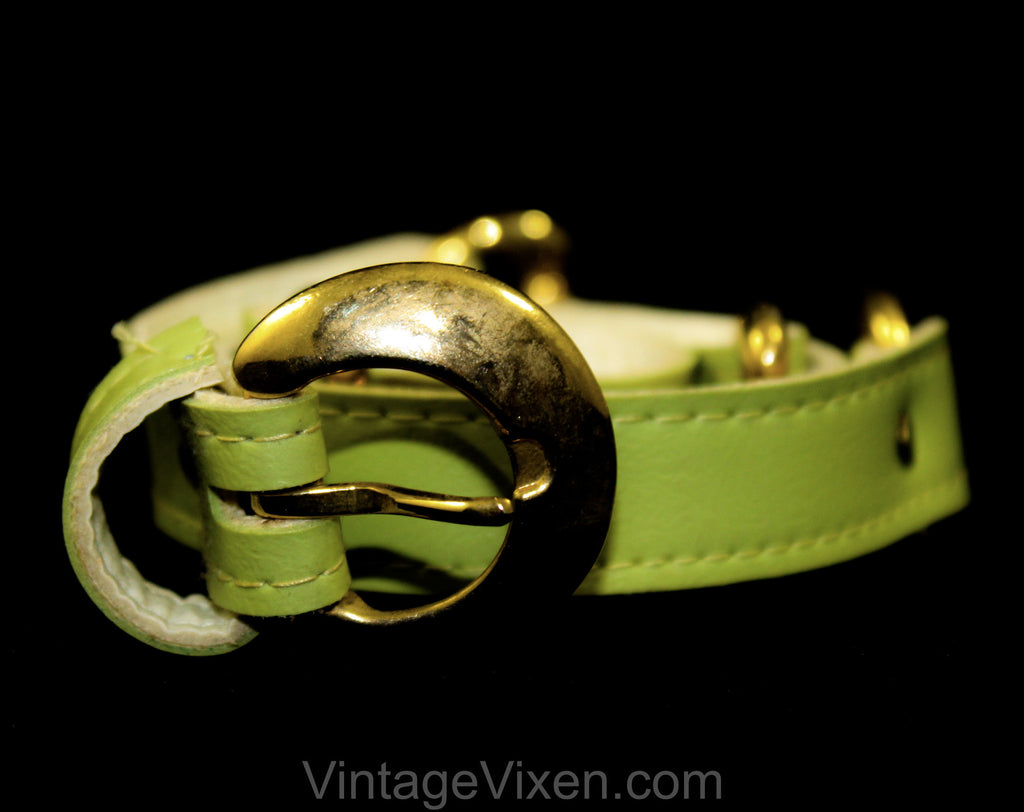 Medium 1960s Belt - Chartreuse Mint Green Vinyl Belt with Brass Buckle & Horse Bits - Size 8 to 12 Mod 60s Belt - Chic Spring Summer Resort
