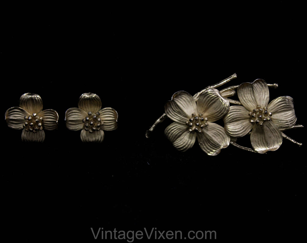 Napier Dogwood Brooch & Earrings - Gold Vermeil and Sterling - Beautiful 50s 60s Demi Parure - State Flower Virginia North Carolina - 50584