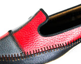 Size 9 Mod 1960s Patchwork Leather Pumps - Unworn Shoes - Red Gray & Black Stitched Color Block Patches - 50s 60s Secretary Deadstock NIB