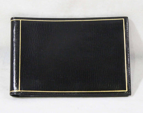 1940s Fine Black Wallet - Exquisite Italian Leather with Gold Pin Striping - Made in Italy - 40s 50s NOS Deadstock - Gift Idea - 49209-2