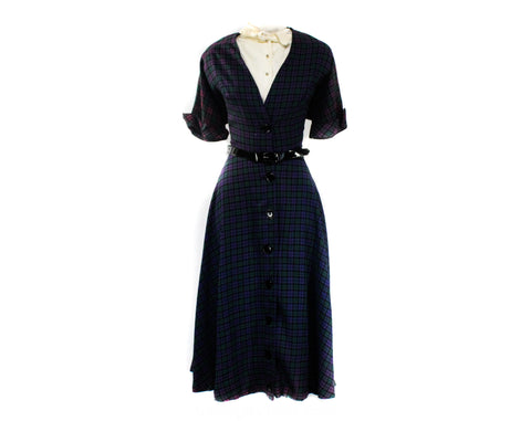 As Is Size 6 1940s Dress - Faded Purple Plaid Rayon Late 40s Post WWII Era Frock - Removable Modesty Panel - Full Skirt - NWT - Waist 27