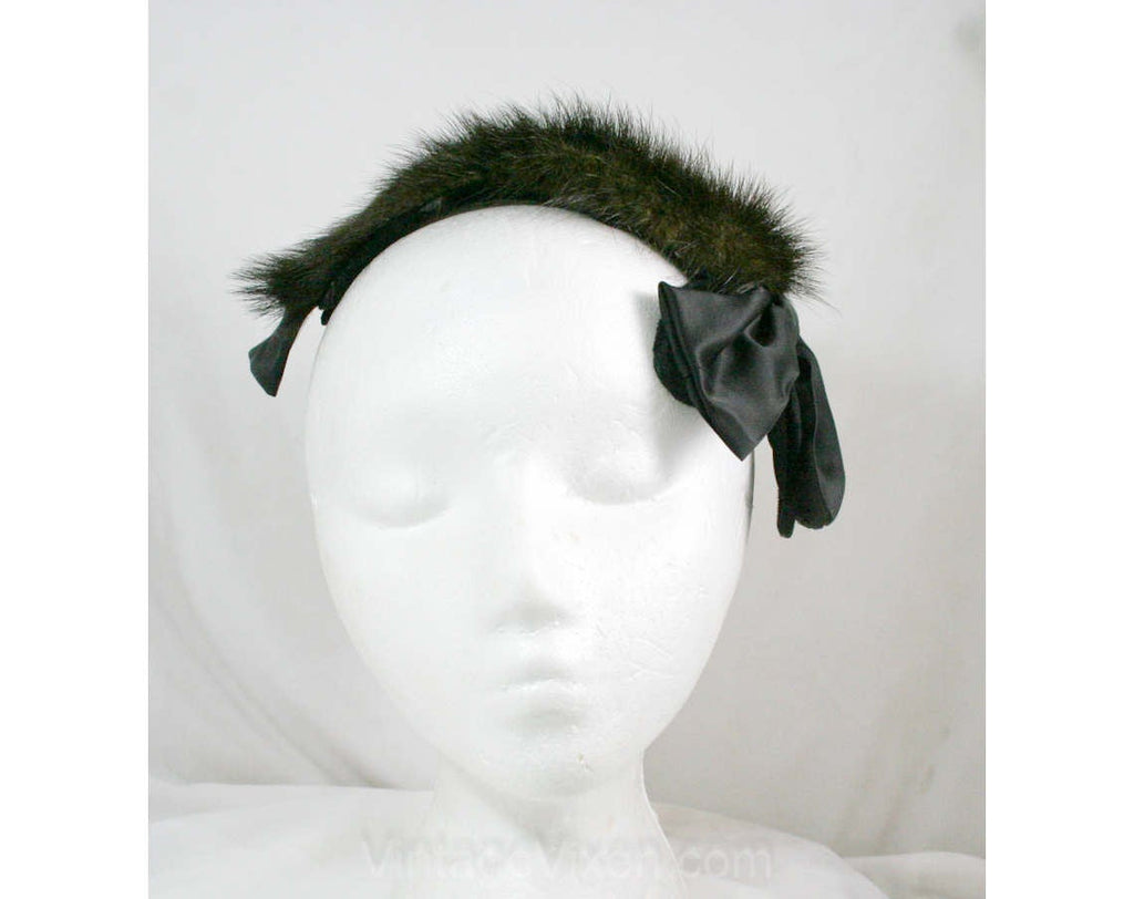 Mink Fur Hat - Adorable Chocolate Brown - 60s - Satin Bows - By Debbie 41298