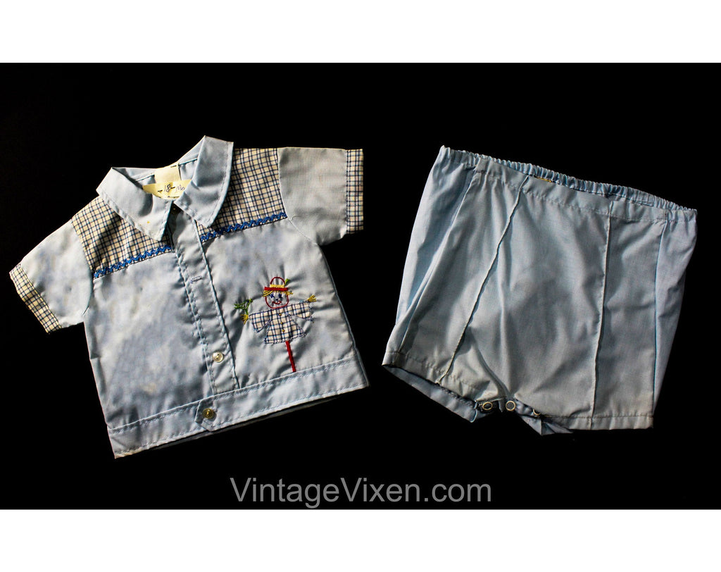 1950s Boy's Summer Shirt & Diaper Cover - Size 12 to 18 Months - 50s Blue Checked Plaid Cotton Baby Play Outfit with Scarecrow Applique