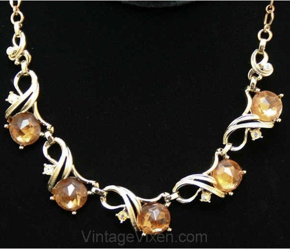 1950s Amber Rhinestone Necklace - Light Brown 1950s Elegant Jewelry - Sarah Coventry - Mid Century - Aurora Borealis - Beautiful - 38407