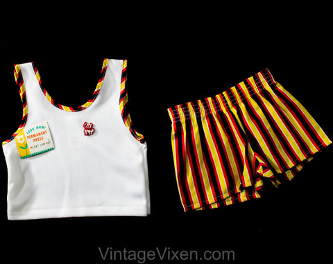 Vintage 70s Children's Summer Set - Size 12 Months Toddler Tank Top & Striped Shorts with Cat Logo - 1970s NWT Deadstock - Kids Clothes