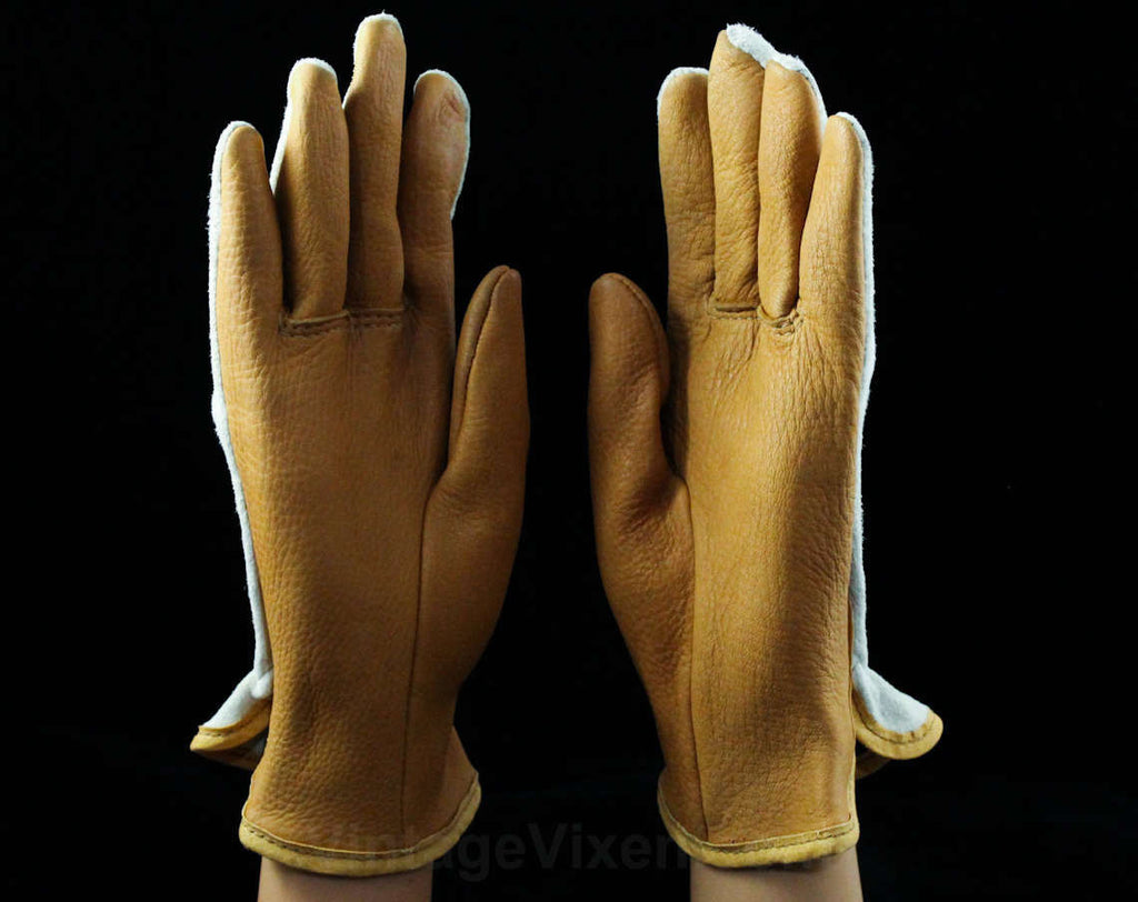 Beautiful Leather & Suede Gloves - Size Large Pair Caramel Tan Gloves - Genuine Leather - Light Brown Ivory - Two Tone - 70s 80s Made in USA