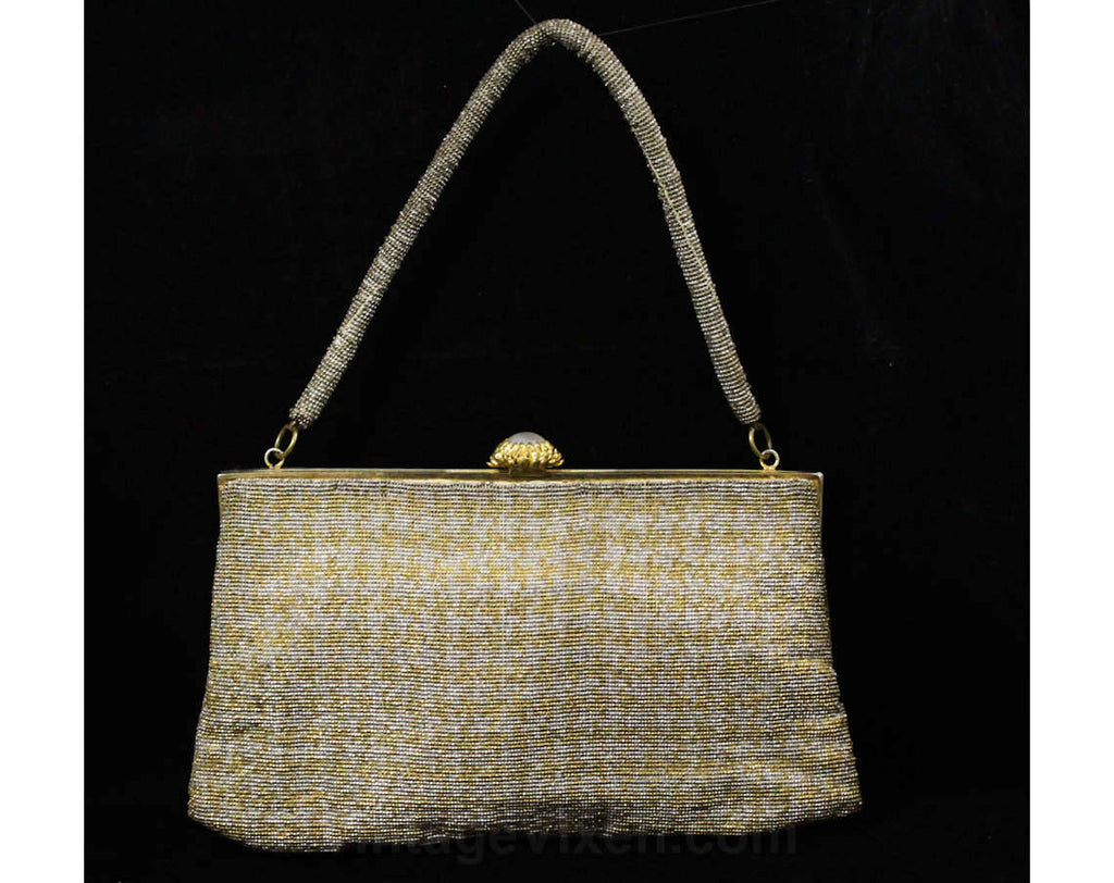 1950s Gold & Silver Purse - 50s Metallic Formal Handbag - Posh Glamour Girl Evening Bag - Beaded Houndstooth Pattern - Hand Made in France