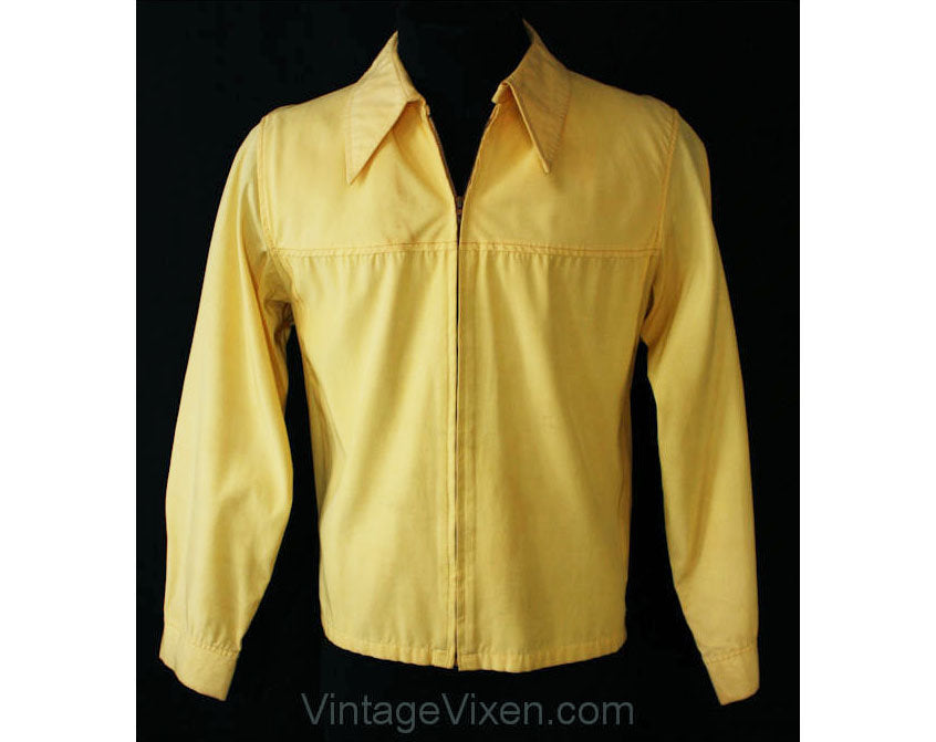 Men's Medium Rayon Windbreaker - Yellow 1960s Jacket with Very 40s Look - Jack Nicklaus Weatherflight - Cold Rayon - Metal Zip & Buckles