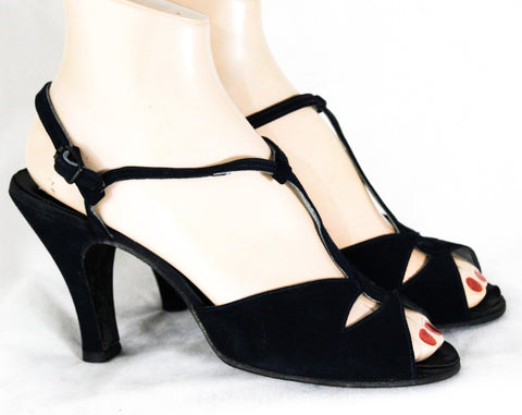 Size 7.5 Navy 1940s Shoes - 40s Open Toe Suede Heels with Elegant Asymmetric Dovetailed Straps - 40's 50's Pumps - 7 1/2 WWII Era Deadstock
