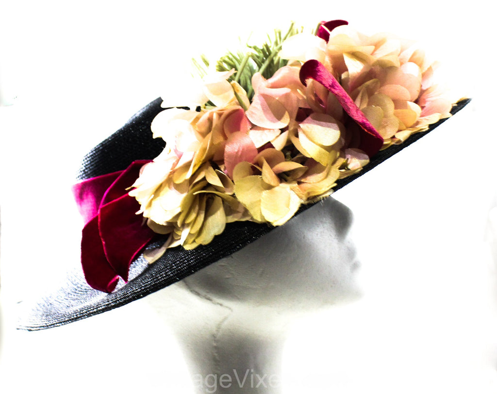 1940s Black Picture Hat with Pink Flowers & Velvet Ribbon - Girlish 40s Spring Cartwheel Wide Brim - Estate of Hollywood Starlet Gladys Glad