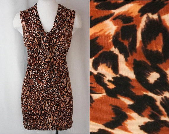 Large Leopard Print 1960s Mini Dress - Size 12 Novelty Print Summer Sleeveless Sheath - Tawny Sexy 60s Go Go Girl - Brown & Black - Bust 37