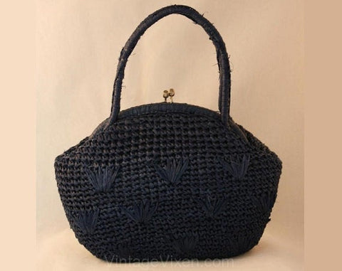 Vintage 1960s Navy Raffia Handbag with Berries Motif - 60s Purse - Made In Japan - Summer - Charming - Classic - Casual - Blue - 36865-1
