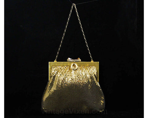 Whiting & Davis Gold Mesh Formal Purse with Chain Strap - 1950s 60s Evening Glamour Bag - Beautiful Metal Handbag - Pristine Condition