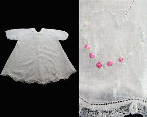 1910s Infant's Dress and Slip - Size 6 Months - White Organdy & Dainty Embroidered Hearts - Pink Rosebuds Antique Baby Dress - 26706