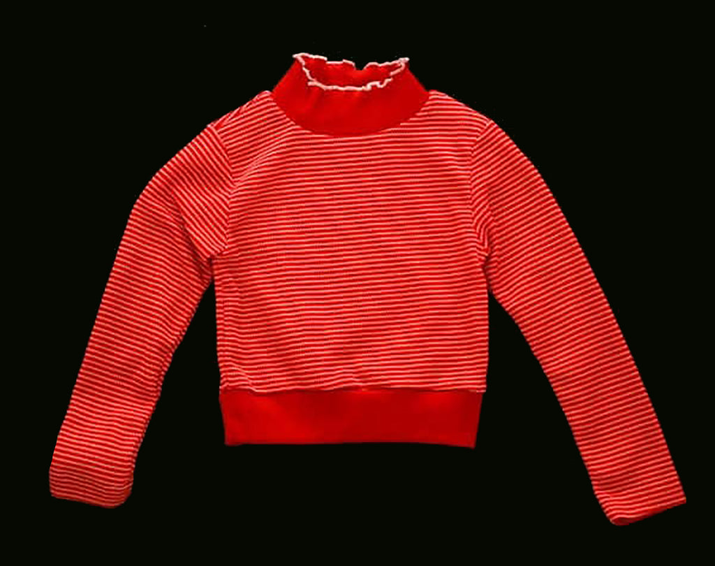 Girls 2T Red Shirt - 60s Sitcom Style Maroon Striped Girl's Top - Deadstock - Fall - Long Sleeved - Red Stripes - Mint Condition - 38639-1