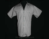 XL Mens 50s Security Guard Gray Cotton Uniform Shirt - Men's 1950s Workwear Short Sleeved Top - Epaulets - Flap Pockets - Chest 48 - 39587-2