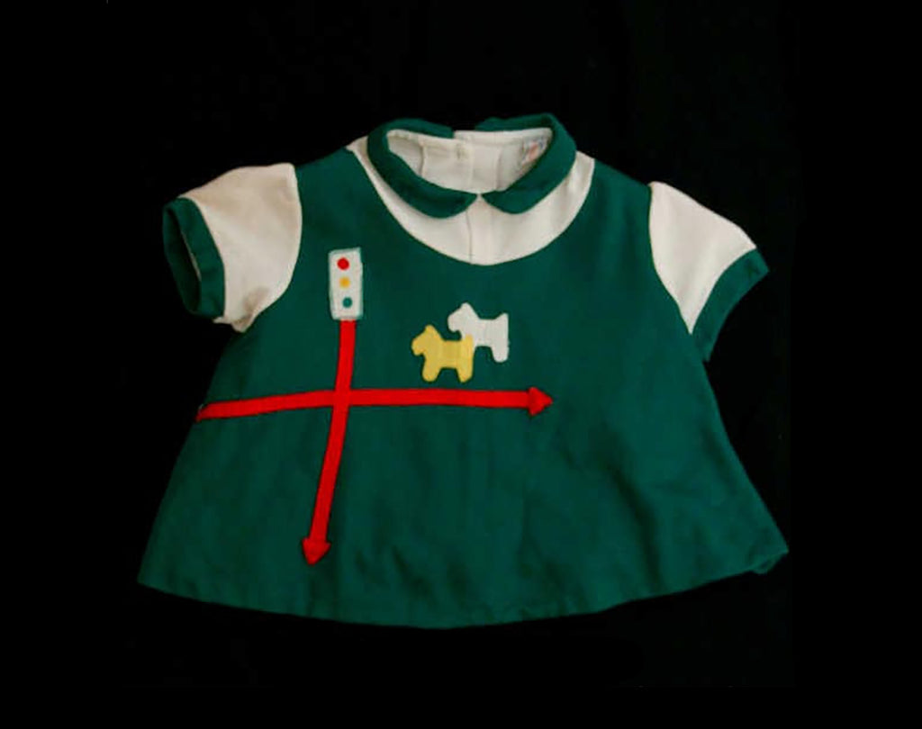 Green 1960s Toddler's Shirt with Scotty Dogs - Girls Size 4 to 5 - 60s Girl's Green Top - Fall - Scotties - Scottish Style Novelty - 39740-1