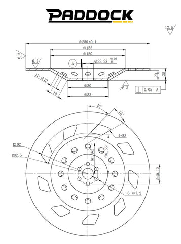 250mm Concrete Grinding Disc Dimensions Drawing