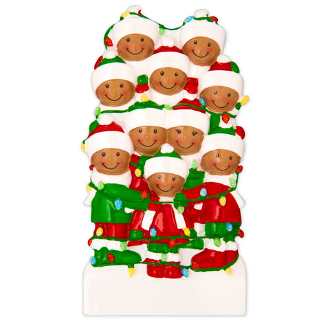 AA1521-10 - African-American Family Tangled in Lights (10) Personalized Christmas Ornament