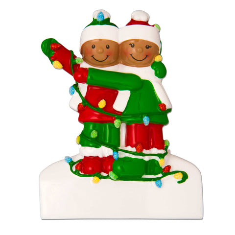 AA1521-2 - African-American Family Tangled in Lights (2) Personalized Christmas Ornament
