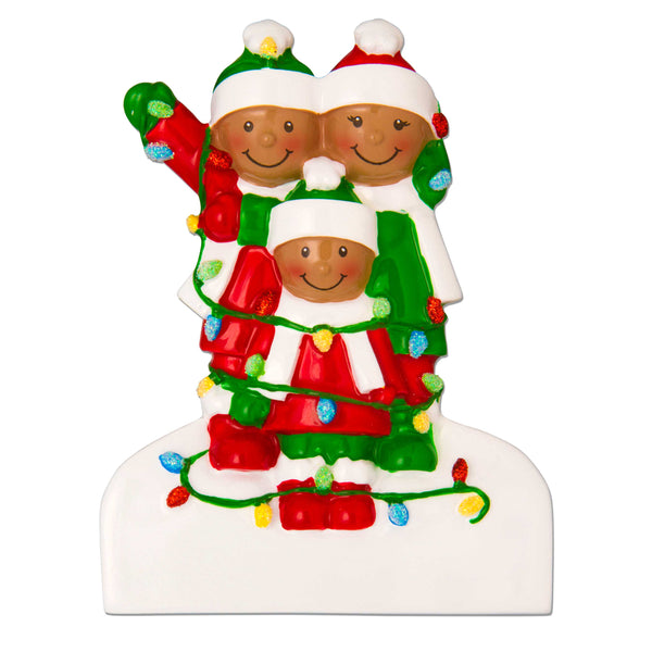 AA1521-3 - African-American Family Tangled in Lights (3) Personalized Christmas Ornament