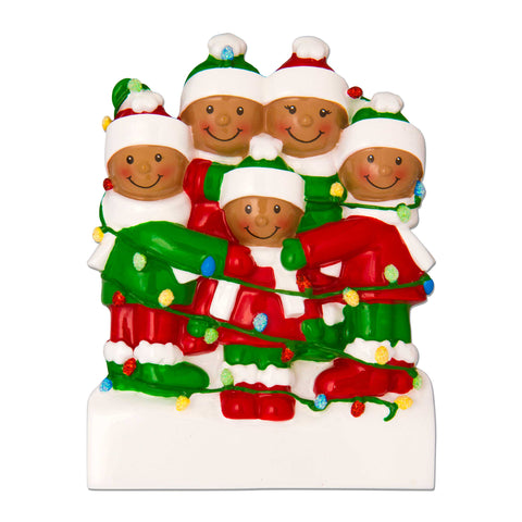 AA1521-5 - African-American Family Tangled in Lights (5) Personalized Christmas Ornament