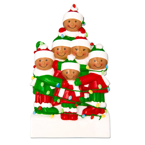 AA1521-6 - African-American Family Tangled in Lights (6) Personalized Christmas Ornament