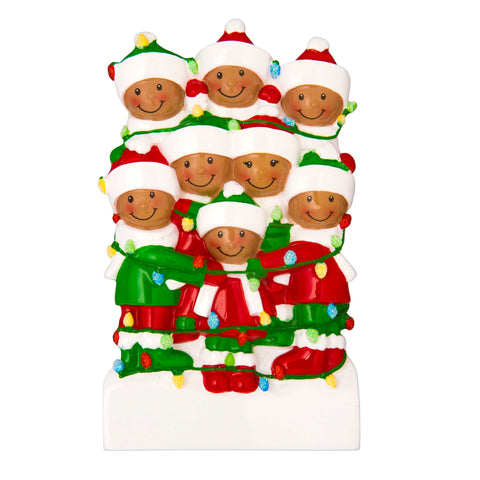 AA1521-8 - African-American Family Tangled in Lights (8) Personalized Christmas Ornament