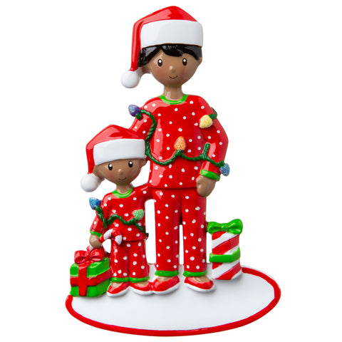 AA1791-1 - African-American Single Dad with 1 Child Personalized Christmas Ornament