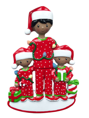 AA1791-2 - African-American Single Dad with 2 Children Personalized Christmas Ornament