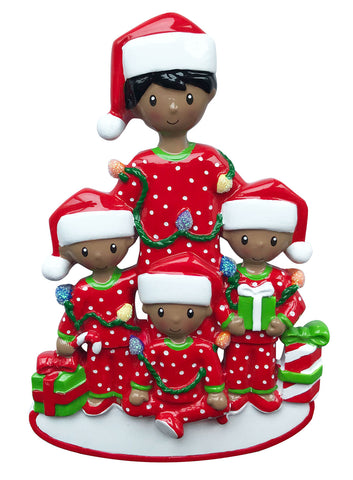 AA1791-3 - African-American Single Dad with 3 Children Personalized Christmas Ornament
