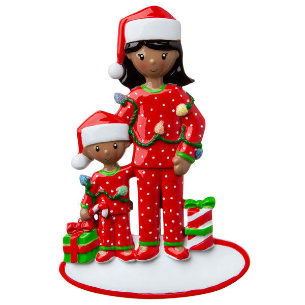 AA1792-1 - African-American Single Mom with 1 Child Personalized Christmas Ornament