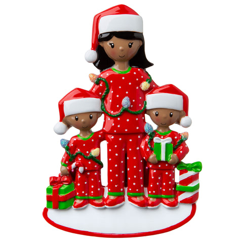 AA1792-2 - African-American Single Mom with 2 Children Personalized Christmas Ornament