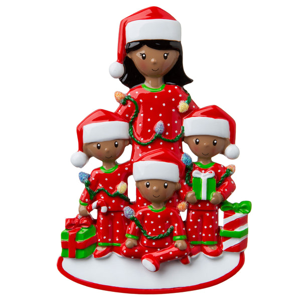 AA1792-3 - African-American Single Mom with 3 Children Personalized Christmas Ornament