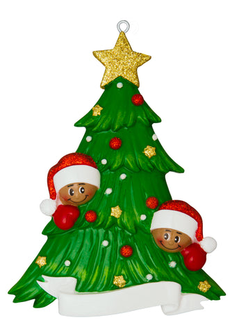 AA827-2 - Christmas Tree with Two African-American Faces