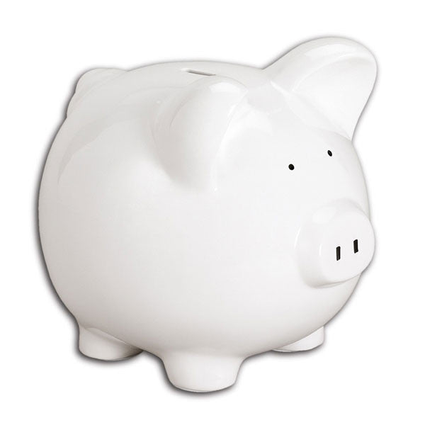 C400 P - Large White Piggy Bank