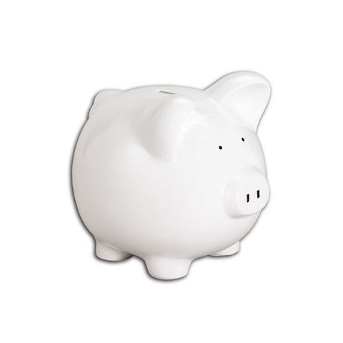 C825 MP - Medium White Piggy Bank