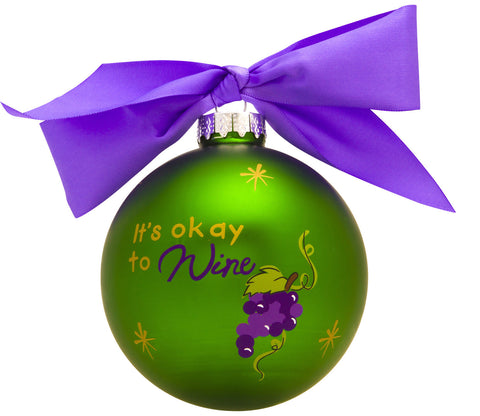 GB002 - It's Ok To Wine Glass Ball Christmas Ornament