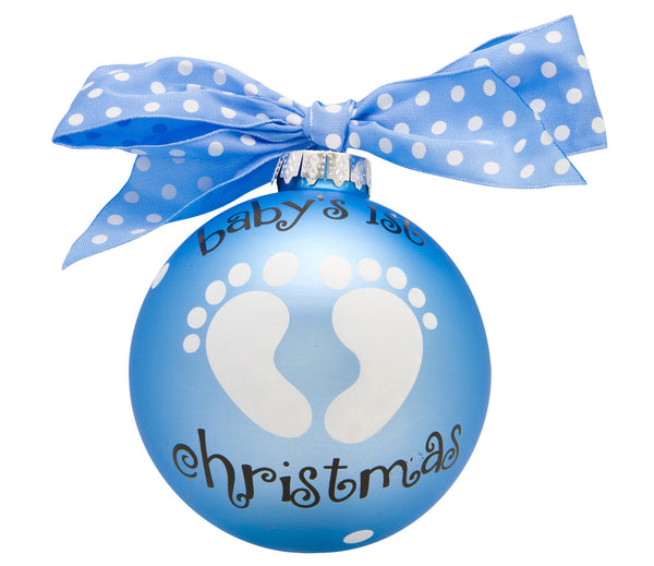 GB004-B - Baby Boy Feet Glass Ball Christmas Ornament
