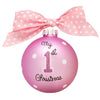 GB005-P - My 1st Christmas, Pink Glass Ball Christmas Ornament