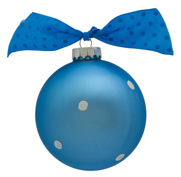 GB006-B - New Baby Boy Banner Glass Ball Christmas Ornament
