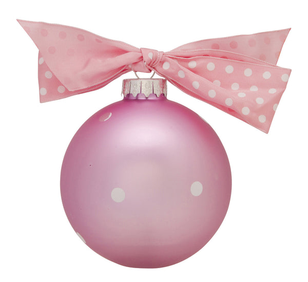 GB006-P - New Baby Girl Banner Glass Ball Christmas Ornament