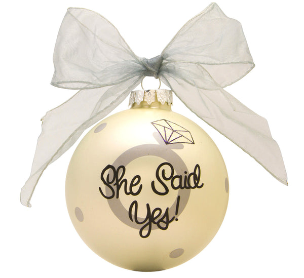 GB014 - Engagement Glass Ball Christmas Ornament
