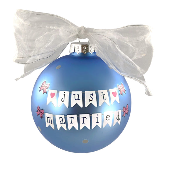 GB019 - Just Married Banner Glass Ball Christmas Ornament