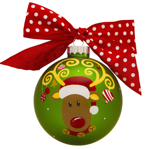 GB031 - Reindeer Glass Ball Christmas Ornament