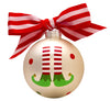 GB034 - Elf Feet Glass Ball Christmas Ornament