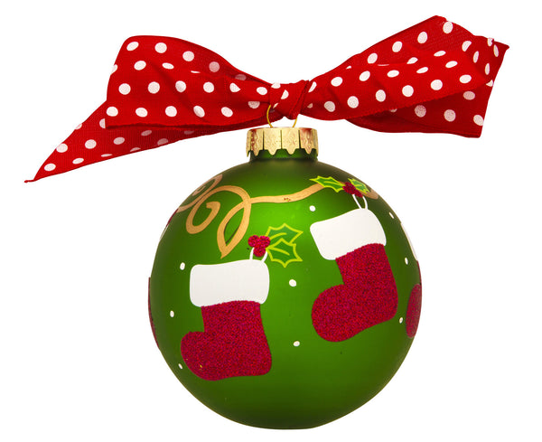 GB036 - Hanging Stockings Glass Ball Christmas Ornament