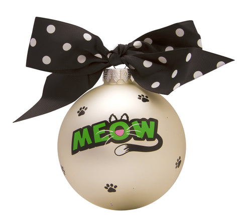 GB048 - Cat Meow Glass Ball Christmas Ornament