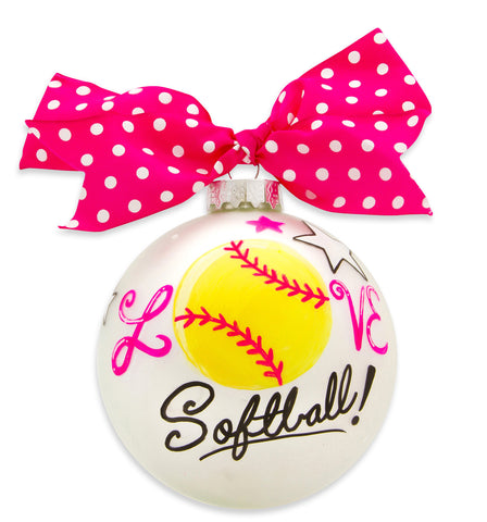 GB062 - Softball Glass Ball Christmas Ornament